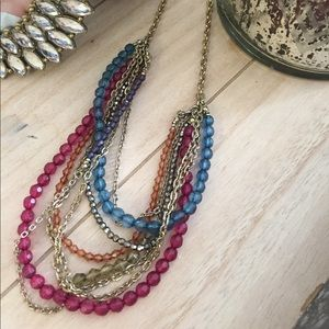 American Eagle Multicolored Beaded & Gold Necklace